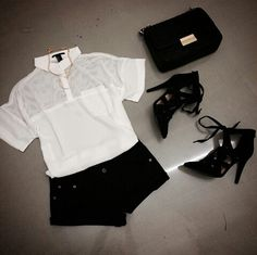 #black#white#perfect#combination#bag#heels