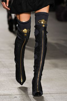 Great stockings embroidery and knee boots