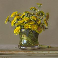 "Jeffrey T. Larson ""Dandelions""  Oil on canvas 16 x 16 inches"