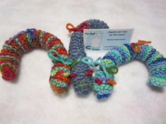 Caterpillar Catnip Toys Soft Kitty Toys Handknit by FoxHuffDesigns