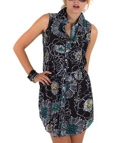 Another great find on #zulily! Black Floral Tie-Waist Sleeveless Shirt Dress by Cino #zulilyfinds