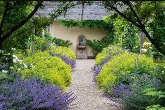 Lovely framing of a gravel path using mounds of nepeta alternating with a low growing euphorbia (cyparissias?). The repetitive juxtaposition of the cool blue and the sharp chartreuse is a winning combination. Designed by English designer Robin Williams, image from his website #englishgarden #gardendesign #gardeninspiration #gardensofinstagram #instagardenlovers #gravelpath #nepeta #euphorbia