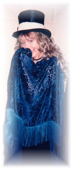 Stevie  ~ ☆♥❤♥☆ ~  smiling coyly behind her blue Stand Back shawl; may people have told me that this isn't Stevie, but to me, it looks exactly like her