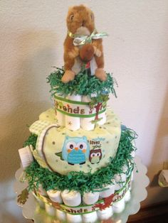 Forest Friends Diaper Cake I made for my niece.