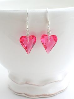 Valentines Day Heart Earrings - swarovski crystal indian pink wild heart - sterling silver handmade jewelry - holidays gifts. $26.00, via Etsy.