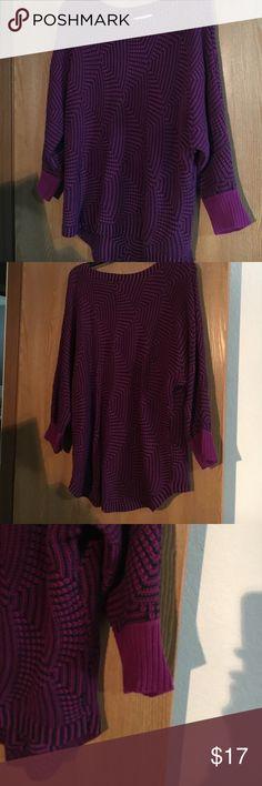 Dana Buchman XL purple sweater Dana Buchman XL purple sweater. High low. Looks cute with leggings. 3/4 length sleeves. Worn once. Dana Buchman Sweaters Crew & Scoop Necks