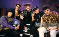 Singers Danny Wood, Jonathan Knight, Joey McIntyre, Donnie Wahlberg and Jordan Knight of New Kids On The Block pose during a circa 1989 interview.