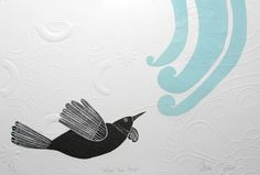 Annie Smits Sandano, Blue Tui Hapu, Woodcut and Embossing on 350 x 500 mm paper, from an edition of 100. NZ$295 incl GST.