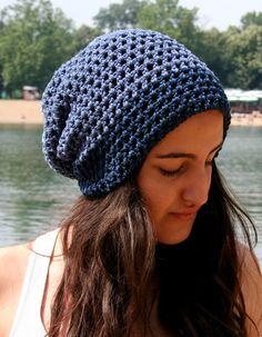 Denim crochet hat  Cotton hat by EllenaKnits on Etsy, $34.00
