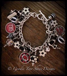 Soccer Mom Charm Bracelet Soccer Soccer Jewelry by mygoodie2shoes, $63.00