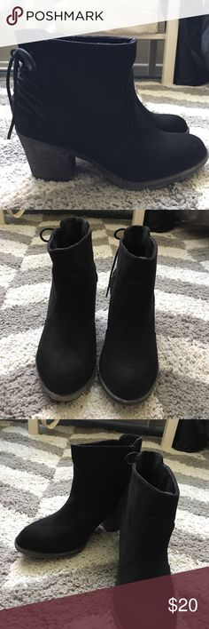 Rocket Dog black ankle booties Rocket Dog , Black ankle booties, only worn once.  With black laces in the back. Size 6. In perfect condition. Rocket Dog Shoes Ankle Boots & Booties