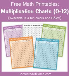 Help your child master the multiplication facts with these colorful multiplication charts!