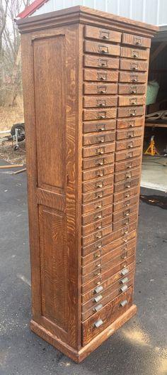 1900+ 45 Dwr Restored QUARTERSAWN OAK FILE OR COLLECTION CABINET Tiger Oak | eBay