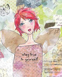 Angel notecards  mixed media painting stationery bridesmaids custom stationery angel blank cards