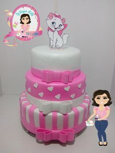 Kitten Cake, Kitten Party, Cat Party, Birthday Cake Girls, 1st Birthday Parties, Fake Cake, Disney Cakes, Aristocats, Girl Cakes