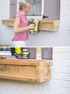 DIY Cedar Window Planters - Shades of Blue Interiors - - How to make a pair of long cedar window planters with a craftsman style design and attach them to a brick home. Simple build that can be done in 2 hours. Planters For Shade, Cedar Planters, Window Planter Boxes, Diy Planters, Window Box Diy, Cedar Window Boxes, Fall Planters, Modern Planters, Window Box Flowers