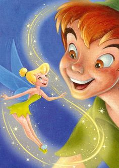 ✶ Peter Pan & Tinkerbell ✦ This Picture Showed Up On A US Postage Stamp ★
