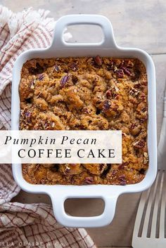 This will be one of your favorite fall recipes! Pumpkin pecan coffee cake is so delicious and it is easy to throw together for breakfast, snack or we even love it for dinner! Thanksgiving Recipes, Fall Recipes, Sweet Recipes, Holiday Recipes, Recipes For Pumpkin, Pecan Recipes, Mini Desserts, Delicious Desserts, Yummy Food