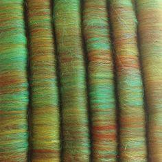 Rain Forest Hand Blended Rolags - Merino Wool & Trilobal Nylon