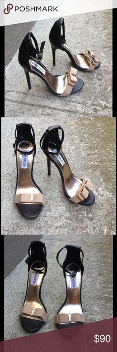 """Steve Madden tan black suede bow ankle strap heels Absolutely gorgeous, cute & flirty. These will add a feminine pop to any outfit..even pair it with simple skinny jeans & a plain black tee. These will give your outfit ultimate elevation. 5"""" stiletto heels with 0.5"""" platform. Brand new with tags..never worn. Steve Madden Shoes Heels"""