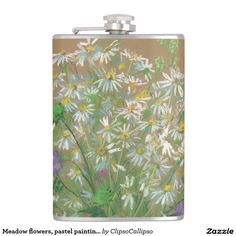 Meadow flowers, pastel painting, white daisies hip flask #floral, #art, #white, #green, #painting, #flower, #flowers, #meadow, #daisy, #daisies, #summer, #flourishing, #bloom, #ocher, #pastel, #blooming, #blossom, #sweet-pea, #knautia, #wildflower, #wildflowers, #plants, #herbs, #field, #garden, #impressionism, #softpastels, #lifedrawing, #ochre, #khaki, #fine+art, #nature, #drawing, #colorful, #flask, #drinkware
