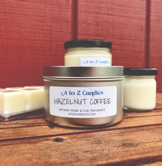 Hazelnut Coffee Candle | Hazelnut Coffee Wax Melts | Coffee Candle | Coffee Wax Tarts | Hazelnut Scented Candle | Coffee Scented Tea Lights by AtoZCandles on Etsy https://www.etsy.com/listing/256641747/hazelnut-coffee-candle-hazelnut-coffee