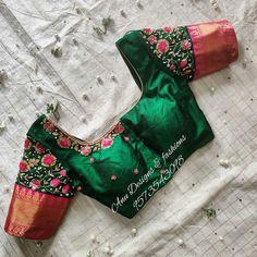 Pattu Saree Blouse Designs To Rock Your Desi Bridal Look Kids Blouse Designs, Simple Blouse Designs, Stylish Blouse Design, Bridal Blouse Designs, Blouse Neck Designs, Pattu Saree Blouse Designs, Maggam Work Designs, Designer Blouse Patterns, Embroidered Blouse