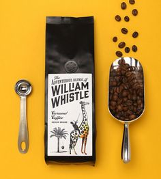 Logo and packaging design with illustrative detail by Horse for tea and coffee merchant The Adventurous Blends Of William Whistle. Coffee Shot, Coffee Cafe, My Coffee, Coffee Beans, Food Packaging Design, Coffee Packaging, Coffee Branding, Bottle Packaging, Product Packaging