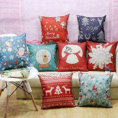 Weihnachten Familie urlaub Leinen kissen kissen kissen fall kopf büro kissen abdeckungen (keine inneren) freies verschiffen kissenbezug