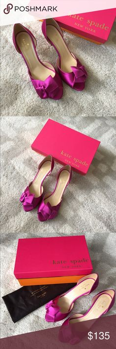❤️New Item❤️ Kate Spade Sala Satin Fuchsia Heels Kate Spade Sala Satin Fuchsia Heels in size 8.5. Worn one time (see photo of wear on sole). Made in Italy!! Come with original box and dust bag. Beautiful fuchsia color. 2 3/4 inch heel. On one heel slight threads of satin showing (see photo). kate spade Shoes Heels