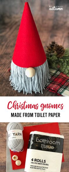 How to Make an Adorable Christmas Gnome {from a TP roll!} - It's Always Autumn These adorable Christmas gnomes are made from a roll of toilet paper! Christmas Crafts To Sell, Christmas Gnome, Christmas Projects, Kids Christmas, Holiday Crafts, Christmas Decorations, Christmas Ornaments, Christmas Sewing, Christmas 2019