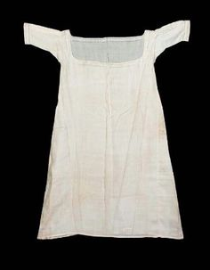 Woman's chemise. French, worn in America, about 1821. Linen plain weave with cotton embroidery- in the Museum of Fine Arts Boston costume collection.