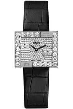 Brand New and Authentic Fendi Fendimania Diamond FF Logo Bezel White Gold Case Pave Dial Women's Watch - Reference Code - Limited Edition of 50 Pieces Brand Name Watches, Top Luxury Brands, White Gold Diamonds, Luxury Branding, Brand Names, Fendi, Quartz, Logo, Crystals