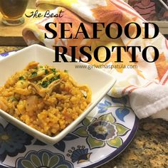 This delicious Easy Seafood Risotto Recipe is one of those recipes that is made with love over the stove top. The gentle and slow cooking is well worth the wait. Seafood Risotto, How To Boil Rice, Dinners To Make, Vegetable Puree, Risotto Recipes, Those Recipe, Recipe Details, Slow Cooker, Delish