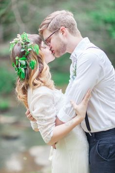 Bride and groom Woodland Bohemian Elopement Inspiration   Photography : leanicole.com   http://www.fabmood.com/saja-wedding-dress-bohemian-elopement-inspiration:
