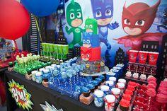 Party details from a PJ Masks Superhero Birthday Party via Kara's Party Ideas | KarasPartyIdeas.com (4)