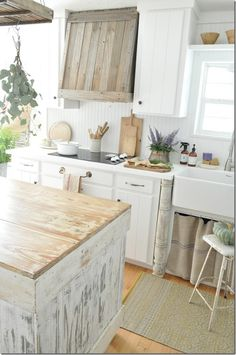Becky Cunningham Home, Fall Farmhouse Kitchen Tour, Buckets of Burlap Blog, Country Kitchen, natural fall decor, reclaimed wood venthood
