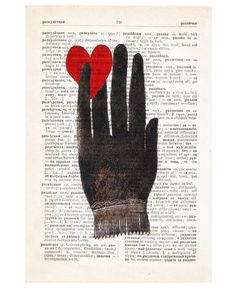 heart in hand. Upcycled art printed on repurposed vintage dictionary page. via RococcoCo on Etsty