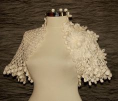 Pastoral Dreams / Crochet White Shrug Bolero / 3D by lilithist, $120.00