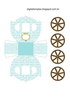Corona Dorada en Celeste: Caja con forma de Carruaje para Imprimir Gratis.