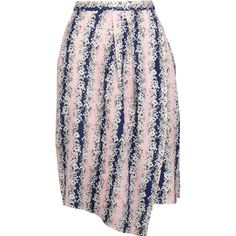 Carven Asymmetric floral-print crepe de chine skirt (£105) ❤ liked on Polyvore featuring skirts, pastel pink, wrap around skirt, floral knee length skirt, pink pleated skirt, floral skirt and floral wrap skirt