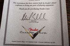 Custom Shop認定書の文言。とても響くメッセージが入っています。
