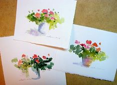 "These are three little paintings for a friend. I thought I could talk myself into posting them as my ""painting of the week"" - Yes - . Watercolor Sketchbook, Watercolor Projects, Easy Watercolor, Watercolour Tutorials, Watercolor Techniques, Watercolor Cards, Watercolor Landscape, Watercolour Painting, Watercolor Flowers"