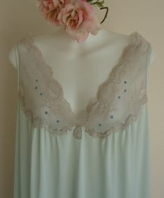 Stunning!!!!Vintage 1970s Simpson's Light Blue Nightgown by MadMakCloset, $50.00