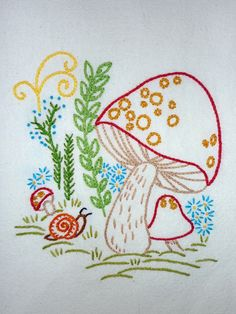 """Whimsical Retro Mushroom Hand-Embroidered Tea Towel by Etsy seller """"MelysHandEmbroidery"""" (Rebecca Betancourt)"""