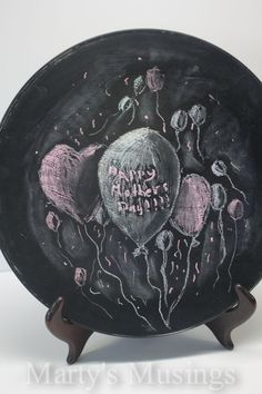 Mothers Day Plate with Glass Chalkboard Paint from Martys Musings