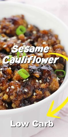 Keto Sesame Cauliflower - Easy vegetarian recipe that& sugar free and low carb! Low Carb Vegetarian Recipes, Low Carb Chicken Recipes, Cauliflower Recipes, Diet Recipes, Healthy Recipes, Easy Vegetarian Dishes, Keto Chicken, Healthy Meals, Soup Recipes