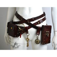 Ultimate steampunk belts kit (240 AUD) ❤ liked on Polyvore featuring accessories, checkered belt, genuine leather belts, 100 leather belt, real leather belts and steampunk belt: