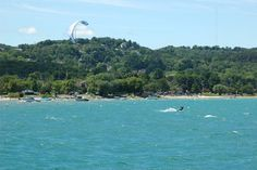 Kiteboarding on West Grand Traverse Bay, Traverse City, MI