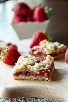 These Strawberry Crumb Bars from @Julie Hanley, Dishes, and Desserts look like the perfect #FRUITful snack!